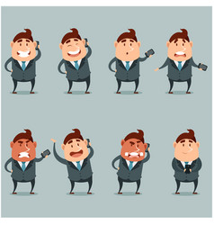 set flat businessmen with phone vector image