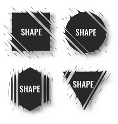 set of cut geometric shapes strokes ripped effect vector image
