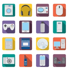 Set of flat appliances and electronic devices icon vector