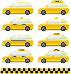 set of isolated taxi car vector image vector image