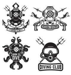 Set of vintage dive helmets diver emblems diver vector