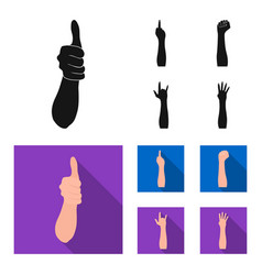 sign language blackflat icons in set collection vector image