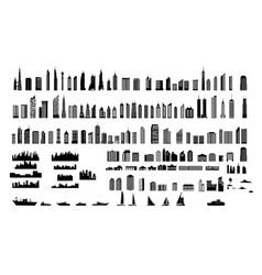 silhouette building set vector image