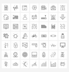 Simple set 49 line icons such as cam media bar vector