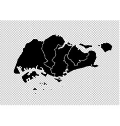 Singapore map - high detailed black map vector