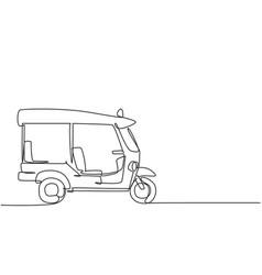 Single one line drawing thai tuk tuk seen from vector
