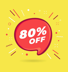 special offer sale red bubble 80 percent discount vector image