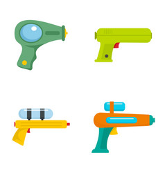 squirt gun water pistol game icons set flat style vector image