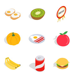 Strengthen health icons set isometric style vector