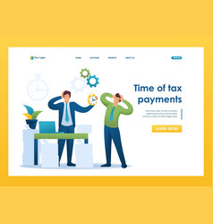 Stressful situation time tax payments flat 2d vector