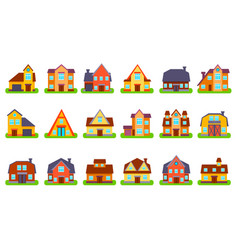 Suburban real estate houses set vector