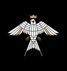 swallow bird king crown logo icon vector image