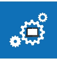 Technology gears laptop system icon vector