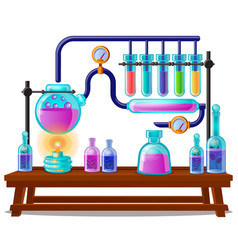 The sequence chemical color reactions stages vector
