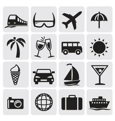 Tourism set icons vector image