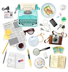 Vintage Accessories For Journalist Writer vector