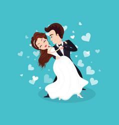 Wedding ceremony couple in love dancing people vector
