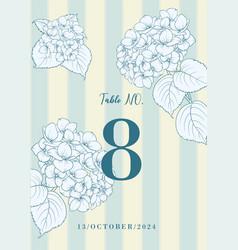 wedding invitation with blue hydrangea flowers on vector image