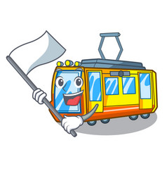 With flag miniature electric train in cartoon vector