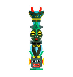 Wooden totem pole with carved colored animal bird vector