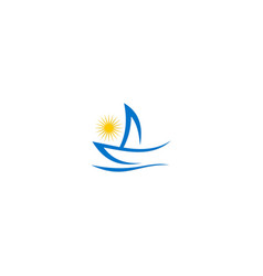 Yacht boat abstract ocean logo vector