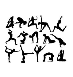 yoga activity silhouettes vector image