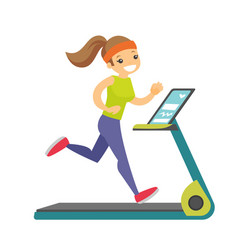 Young caucasian white woman running on treadmill vector