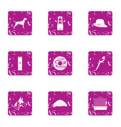Zoological garden icons set grunge style vector