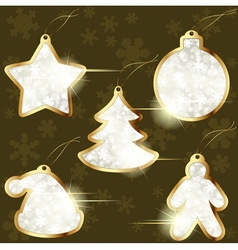 collection of golden winter labels vector image vector image