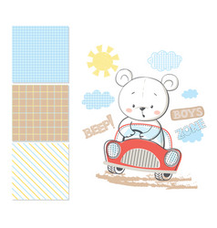 little bear in car surface pattern and 3 seamless vector image vector image