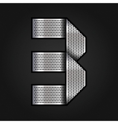 Number metal chrome ribbon - 3 - three vector image vector image