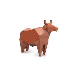 polygonal of red cow modern farm and dairy product vector image vector image