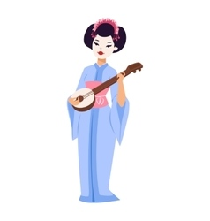 set of Japanese geisha girls vector image vector image