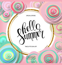 summer sale poster with beautiful blossom flowers vector image
