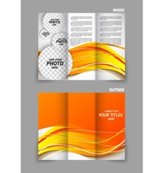 tri-fold brochure in orange color vector image vector image