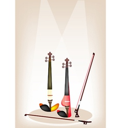 Two Beautiful Modern Violins on Stage vector image vector image