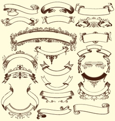 Vintage floral decorative ribbons elements vector image vector image