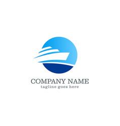 yacht boat logo design vector image