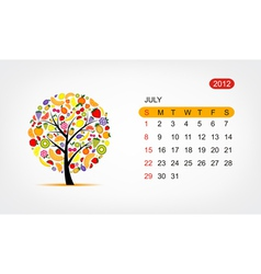 calendar 2012 july Art tree design vector image vector image