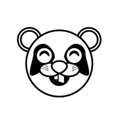 face panda animal outline vector image vector image