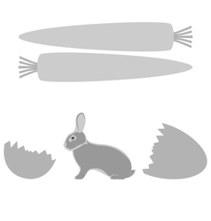 Grey rabbit hatched from an egg and carrot frames vector image vector image