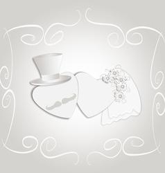 Wedding heart vintage vector image