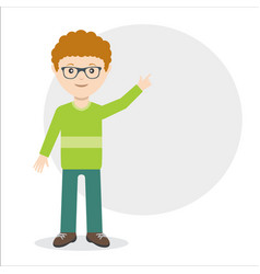 Young guy pointing with finger idea flat vector