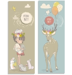 cute little girl with hares and deer vector image vector image