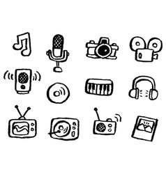 doodle series media vector image