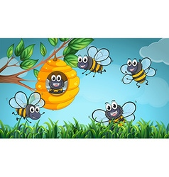 Scene with bees and beehive vector image vector image