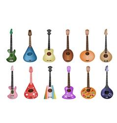 A Set of Beautiful Ukulele Guitars vector image