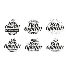 bon appetit label lettering for menu design vector image