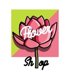 Color vintage flower shop emblem vector image