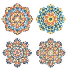 Colorful mandalas traditional lace ornaments vector